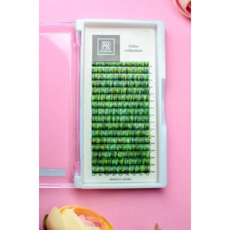 Колорированные ресницы BARBARA №2 (зеленые) МИКС (D 0.07 7-15mm)