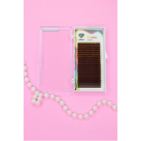 Ресницы Lovely тёмно-коричневые MIX - 20 линий L 0.10 8-15мм