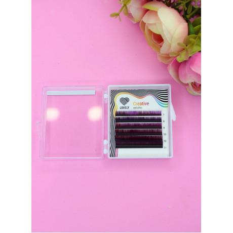 Ресницы двухтоновые фиолетовые Lovely MINI-MIX, 6 линий